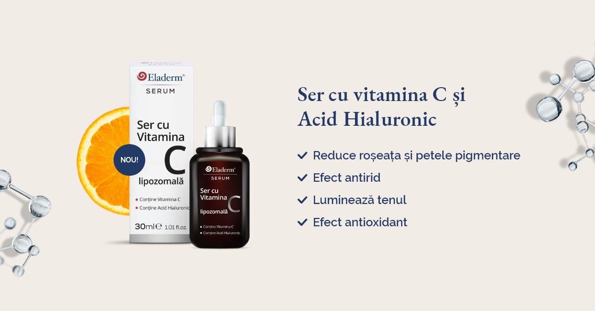 Ser cu Vitamina C si Acid Hialuronic Eladerm
